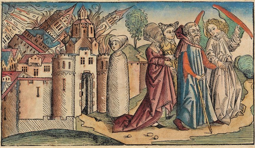 Szodoma és Gomora ábrázolása a Nürnbergi krónikában (Hartmann Schedel, 1493). Középen Lót felesége, immár sóbálvánnyá változva