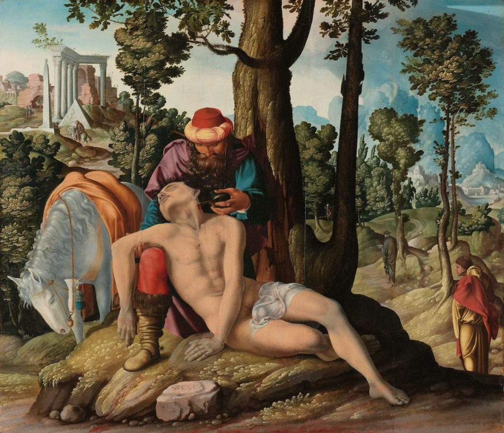 A jó szamaritánus (ismeretlen mester, 1537) Forrás: Rijksmuseum