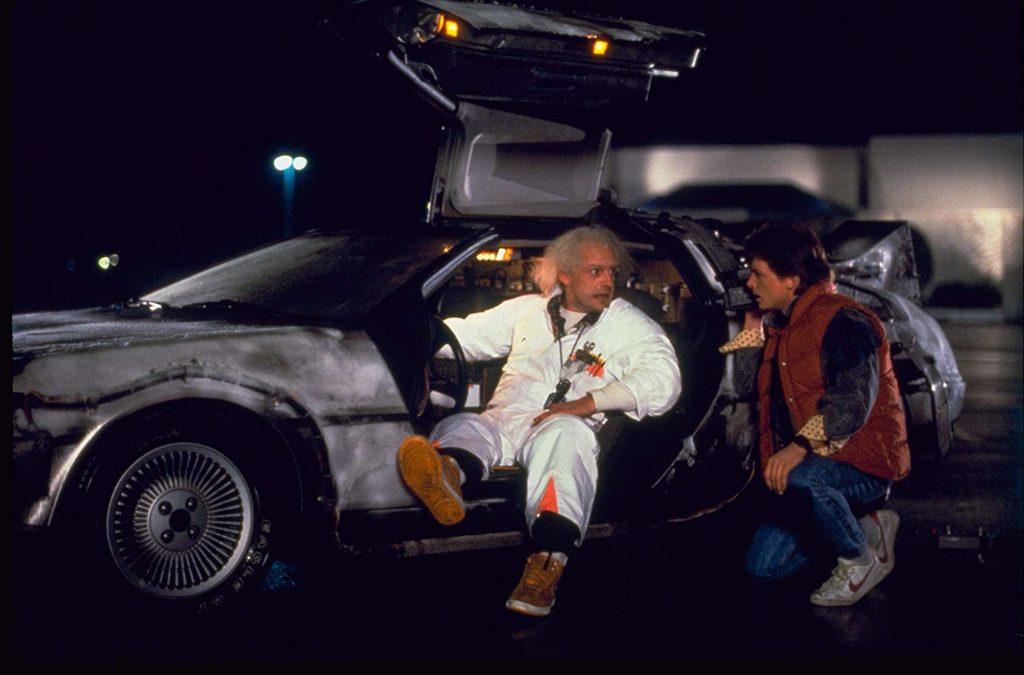 Michael J. Fox és Christopher Lloyd a Vissza a jövőbe első részében (Universal Studios)