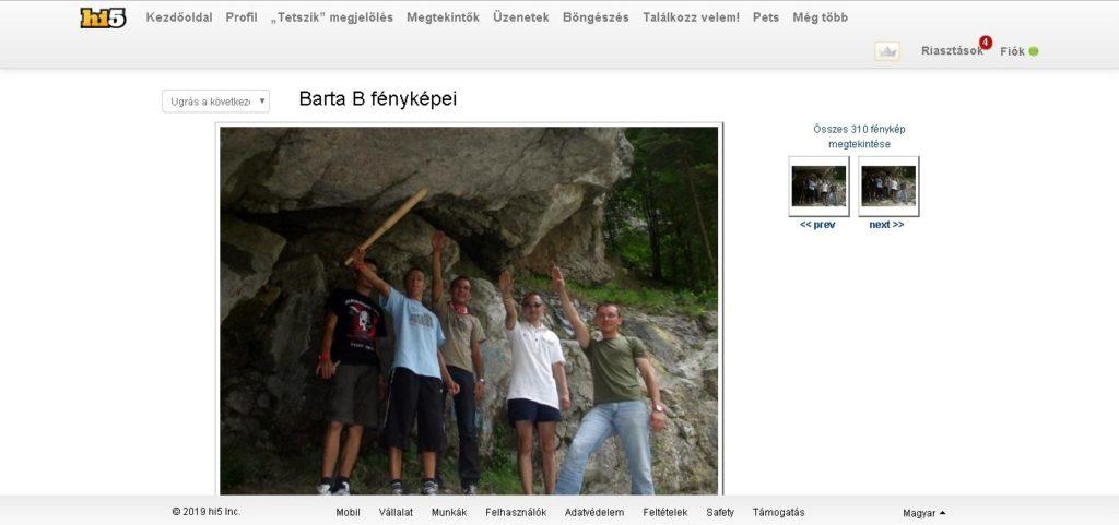 A karlendítés Barta Béla hi5-oldalán. A képernyőmentés szeptember 24-én készült