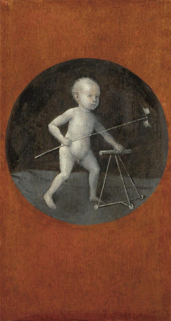 Hieronymus Bosch: Gyermek szélkerékkel és járókával (1500 körül, a Krisztus a keresztfát hordozza c. táblakép hátoldala, forrás: Wikimedia Commons)