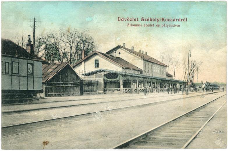 Székelykocsárd – az állomásépület és a pályaudvar egy 1912-es képeslapon