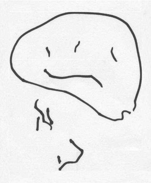 Smiley és alatta írás (két és fél éves gyermek rajza). Forrás: Wikimedia Commons